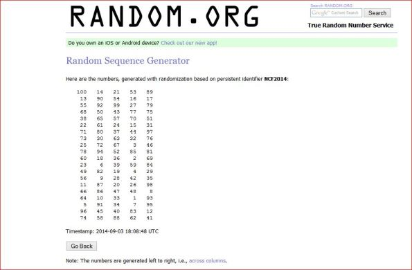 RANDOM NUMBERS GENERATED FOR NICK FIXES GIVEAWAY